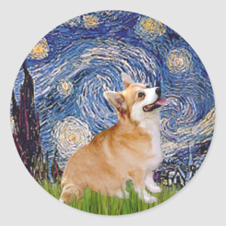 Starry Night - Pembroke Welsh Corgi 7b Classic Round Sticker