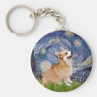 Starry Night - Pembroke Welsh Corgi 7b Keychain