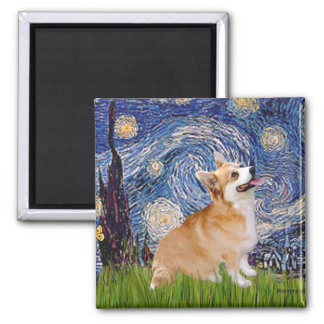 Starry Night - Pembroke Welsh Corgi 7b Fridge Magnets
