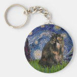 Starry Night - Persian Calico cat Keychains