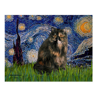 Starry Night - Persian Calico cat Postcard