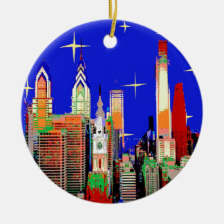 Starry Night Philadelphia Double-Sided Ceramic Round Christmas Ornament