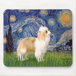 Starry Night - Puff Chinese Crested (cream) Mouse Pad