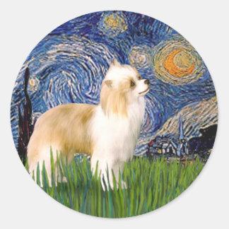 Starry Night - Puff Chinese Crested (cream) Round Sticker