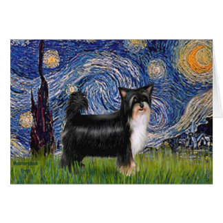 Starry Night - Puff Chinese Crested (tri color) Greeting Cards