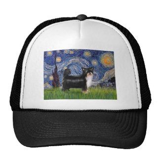 Starry Night - Puff Chinese Crested (tri color) Hats