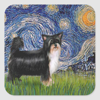 Starry Night - Puff Chinese Crested (tri color) Stickers