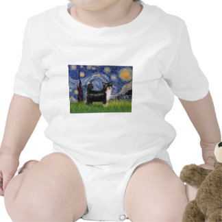 Starry Night - Puff Chinese Crested (tri color) Tshirt