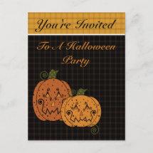 Starry Night Pumpkins Halloween Invitation postcard