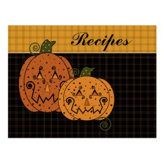 Starry Night Pumpkins Recipe Card Postcard