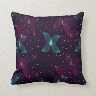 Starry Night Purple Blue Butterfly Pillow