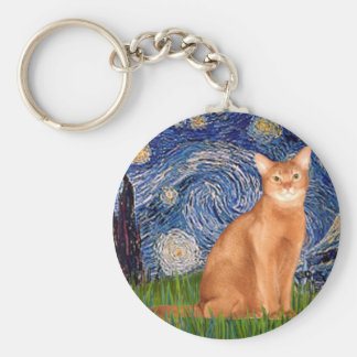 Starry Night - Red Abyssinian Keychain