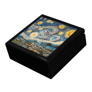 Starry Night repaint after Van Gogh Wooden Box Keepsake Box