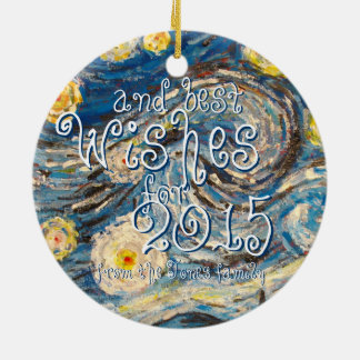 Starry Night repainted Merry Christmas wishes 2015 Ceramic Ornament