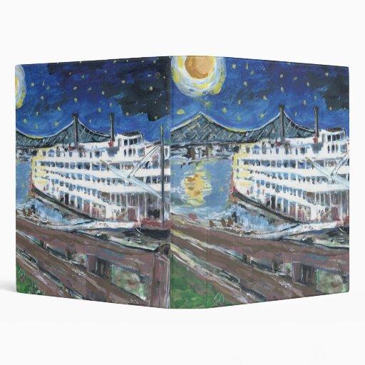 Starry Night Riverboat 3 Ring Binder