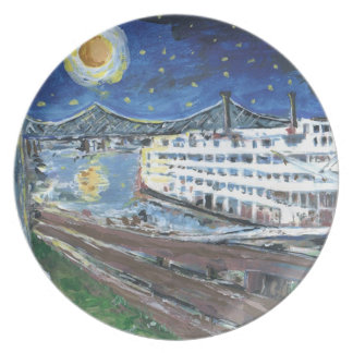 Starry Night Riverboat Plate