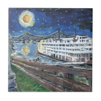 Starry Night Riverboat Tile