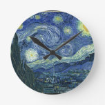 Starry Night Round Clocks