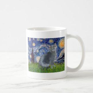 Starry Night - Russian Blue cat 2 Coffee Mugs
