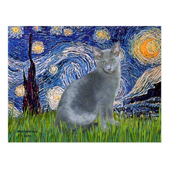 Starry Night - Russian Blue cat 2 Postcard