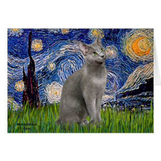 Starry Night - Russian Blue cat Card