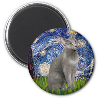 Starry Night - Russian Blue cat Magnet