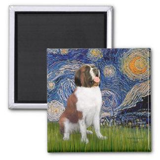 Starry Night- Saint Bernard 2 Inch Square Magnet