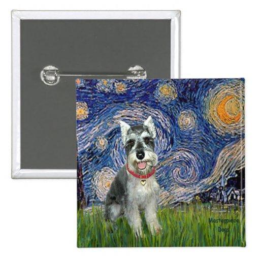 Starry Night - Schnauzer #8 Pinback Buttons