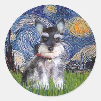 Starry Night - Schnauzer Puppy #10 Classic Round Sticker