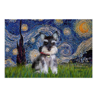 Starry Night - Schnauzer Puppy #10 Posters
