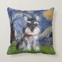 Starry Night - Schnauzer Puppy #10 Throw Pillow