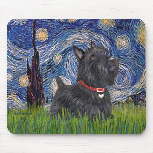 Starry Night - Scottish Terrier 6 Mouse Pad