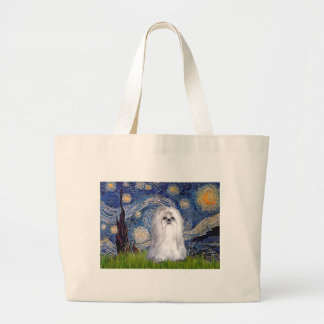 Starry Night - Shih Tzu (white) Large Tote Bag