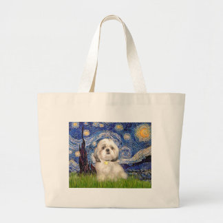 Starry Night - Shih Tzu (Y) Large Tote Bag
