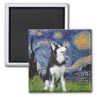 Starry Night - Siberian Husky #1 2 Inch Square Magnet