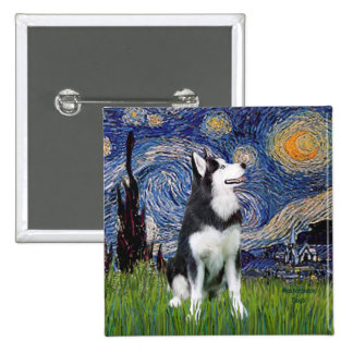 Starry Night - Siberian Husky #1 Pinback Button