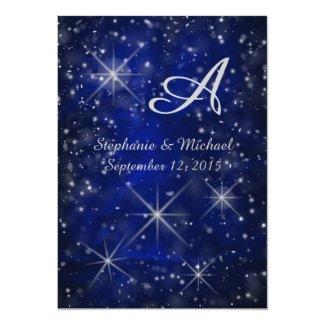 Starry Night Silver Monogram Elegant Blue 5x7 Paper Invitation Card
