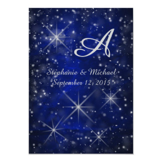 Starry Night Silver Monogram Elegant Blue Card