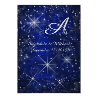 Starry Night Silver Monogram Elegant Blue Card