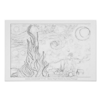 Starry Night Sketch-Poster by jlp Poster
