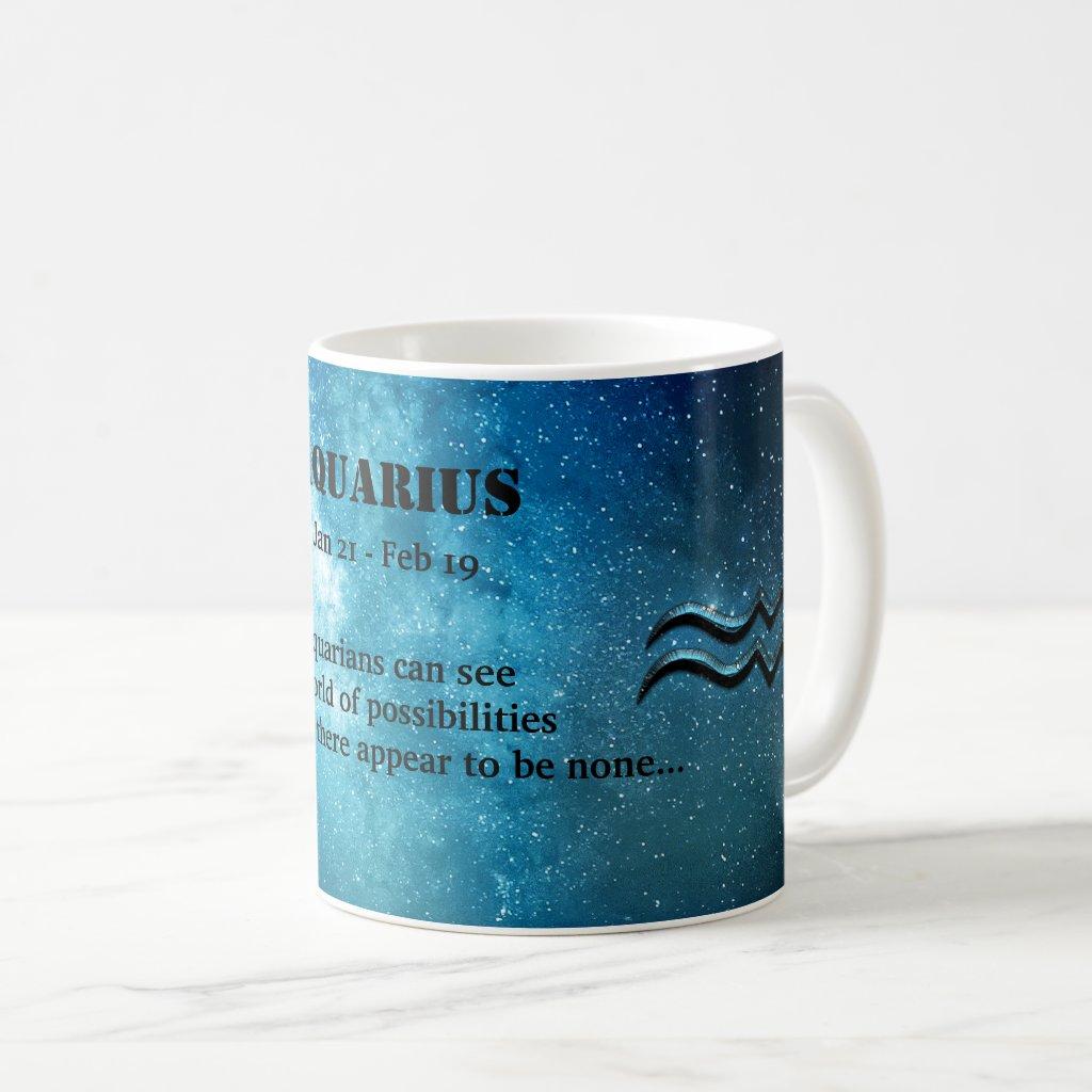 Starry Night Sky Aquarius Zodiac Sign Mug