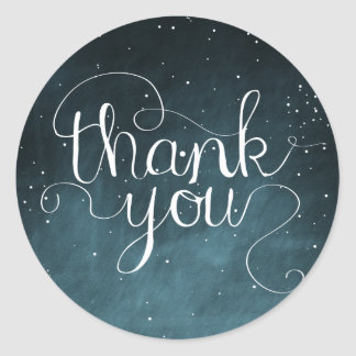 Starry Night Sky Calligraphy Thank You Sticker