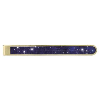 Starry Night Sky Grid Gold Finish Tie Clip