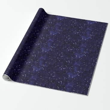 StuffOrSomething Starry Night Sky Grid Wrapping Paper
