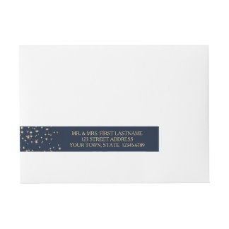 Starry Night Sky Navy Blue and Gold Wrap Around Address Label