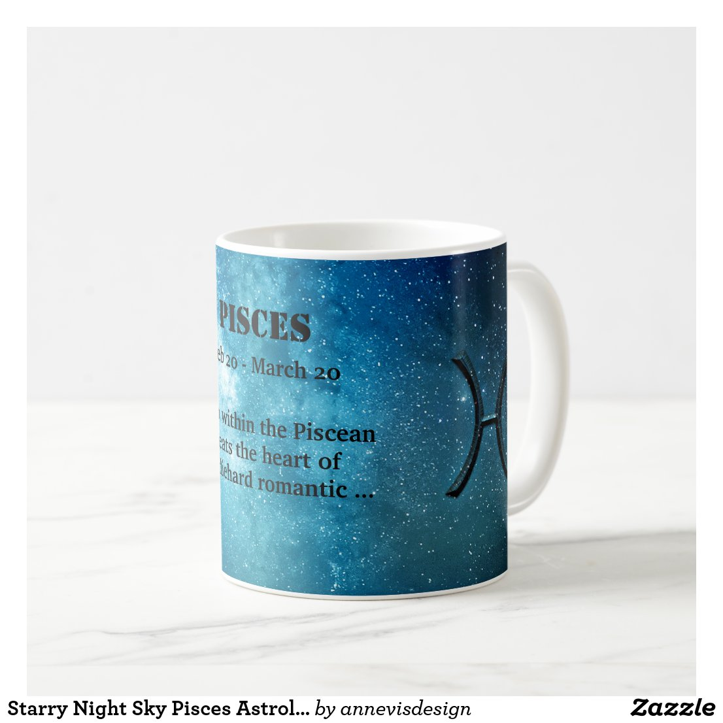 Starry Night Sky Pisces Astrology Zodiac Sign Mug