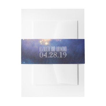 Wedding Themed Starry Night Sky Wedding Invitation Belly Band