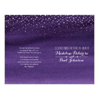 Starry night sky wedding programme flyer