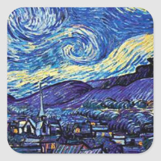 Starry Night Square Stickers