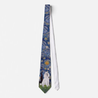 Starry Night - Standard Poodle (W) Neck Tie